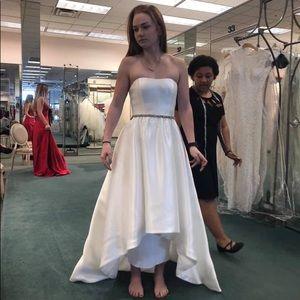 Ivory Satin High-Low David's Bridal Wedding Gown